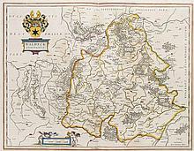 Waldeck comitatus. Grenzkol. Kupferstichkarte. Amsterdam, Blaeu, um 1640. Plattenmaße ca. 38 x 50 cm.