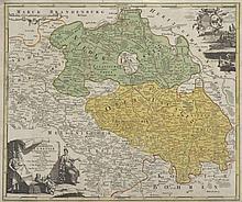 Totius Marchionatus Lusatiae tam Superioris quam inferioris Tabula specialis ... Teilkol. Kupferstichkarte von J. Hübner. Nürnberg, Homann, um 1720. Plattenmaße ca. 48 x 57 cm.