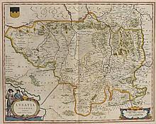 Lusatia Superior. Grenz- u. teilkol. Kupferstichkarte von Barth. Scultetus. Amsterdam, Blaeu, um 1645. Plattenmaße ca. 41 x 52 cm.