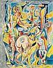 Masson, André  Les travaux du hasard. (um 1960). Farblithographie auf Arches-Bütten. 76 x 59,5 cm (95 x 70 cm). Sign. und numm. - Minimal fleckig und leicht knickspurig., Andre Masson, €140