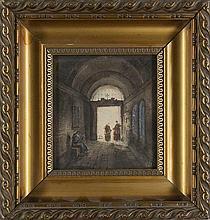 Künstler des 19./20. Jhd Kircheninneres. Aquarell und Gouache, teils gekratzt, auf Papier. 13,5 x 12,5 cm. Monogrammiert