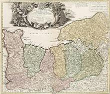 Carte de Normandie ou sont marquez exactement les Pays ou Contrées enfermées dans cette Province par Guillaume del Isle (Kopftitel). Teilkol. Kupferstichkarte. Nürnberg, Homann, um 1740. Plattenmaße ca. 49 x 57,5 cm.