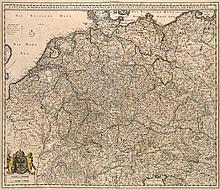 S. Imperium Romano-Germanicum oder Teutschland mit seinen angräntzenden Königreichen und Provincien. Grenzkol. Kupferstichkarte von N. Visscher. Amsterdam, Schenk, um 1700. Plattenmaße ca. 46 x 56 cm.