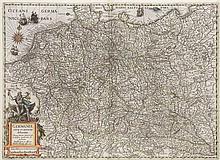 Germaniae nova et accurata delineatio. Kol. Kupferstichkarte. Amsterdam, Hondius, dat. 1631. Plattenmaße ca. 35 x 48 cm.