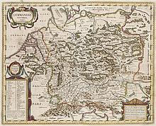 Germaniae Veteris, typus. Teilkol. Kupferstichkarte von P. Kaerius. Amsterdam, Jansson, um 1650. Plattenmaße ca. 48 x 58 cm.