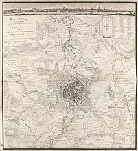 Heinemann, E  Braunschweig nebst Umgegend. Kupferstichkarte u. Ansicht , gestoch. von Carl Mare. Braunschweig, Schenk, (1835). Mit Prägestempel