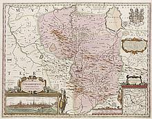 Osnabrugensis Episcopatus. Teilkol. Kupferstichkarte von J. Gigas. Amsterdam, Blaeu, um 1660. Plattenmaße ca. 38 x 49 cm.