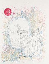 Cremer, Fritz  o.T. 1973. Farblithographie. 59,5 x 43 (70 x 45,5 cm). Unterhalb der Darstellung in Bleistift signiert u. datiert. - In den Randbereichen vereinzelt schwach knickspurig