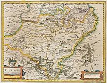 Thuringiae Nova Descriptio. Teilkol. Kupferstichkarte. Amsterdam, Jansson, um 1640. Plattenmaße ca. 38 x 48 cm.