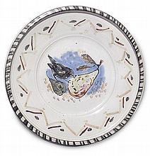 Skorupa, Horst  Wandteller mit Vogel. Schaddel, um 1990. Keramik, fayenceartige Glasur mit bunte