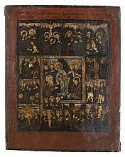 Festtagsikone. Christus mit 12 simultanen Szenen aus dem Leben Christi. Russland, 19. Jh. Tem