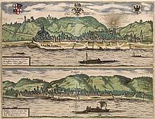 Ober Wesell - Boppart. 2 kol. Kupferstiche auf 1 Blatt. Aus: Braun u. Hogenberg, um 1590. Pla