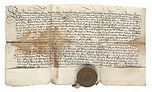 Sammlung von 6 Urkunden aus der Abtei von Fulda. Kurrentschrift mit kalligraphierten Initital