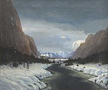 Petersen, Hans von  Gebirgsfluss in der winterlichen Landschaft. 108 x 92 cm. Signiert