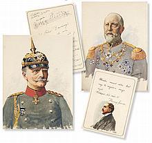 Autographenalbum des Janos Baranyi. Mit 11 Original-Aquarellen bzw. Federzeichnungen von J. Z