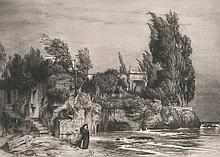 Hecht, Wilhelm  Römische Villa am Meere. Radierung nach Arnold Böcklin. Um 1897. 48,5 x 69 cm. B