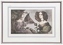 Fuchs, Ernst  Sophie-Charlotte. Farbaquatintaradierung auf Papier. 42,2 x 69,5 cm (63,4 x 90,5 c
