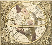Cellarius, Andreas  Situs Terra Circulis Coelestibus. Kolorierte Kupferstichkarte. Schenk u. Val