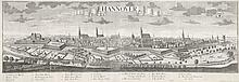 Hannover. Großformatige Panoramaansicht der Stadt. Kupferstich von zwei Platten von Probst na