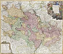 Exactissima Palatinatus Ad Rhenum ... Teilkol. Kupferstichkarte. Nürnberg, Homann, um 1720. P