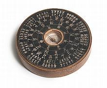 Chinesischer Kompass aus Holz um 1820. Schwarz eingefärbter Holzkompass mit eingelassener Kom