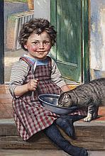 Kirberg, Otto Karl Mädchen mit Katze. Aquarell u. Gouache auf Papier. 39 x 26,5 cm. Sign. u. mit Ortsangabe Düsseldorf. - Unter Passepartout montiert u. gerahmt (Maße mit Rahmen 78 x 62 cm).