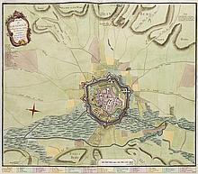 Plan de Goetingue de Hanover avec toutes ses Environs. Kol. Kupferstich. Paris, Le Rouge, 1757. Plattenmaße ca. 48,5 x 57 cm.