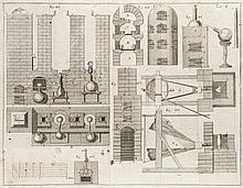 Wallerius, Joh. Gottschalk Der Physischen Chemie. 5 Teile in 3 Bde. Mit 4 mehrfach gefalt. Kupfertafeln. Leipzig, Siegfried Lebrecht Crusius 1776-1780. 8 Bll. 502 S. 12 Bll. 4 Taf., 362 S. 13 Bll., 536 S. 20 Bll. 8°. Grüne Ppbde. d. Z. mit rotem