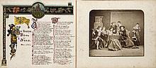 Lutherspiel zu Calbe am 29. Februar, 2., 4. und 6. März. Bilder aus Luthers Leben. Album mit 5 0Photographien (Vintages, Albuminabzüge) von einer Aufführung in historischen Kostümen. Je unter Passepartout mont. u. 5 Bl. mit von Hand geschriebenen