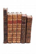 Sammlung von 8 theologischen Werken vornehmlich des 18. Jahrhunderts. Ldr. d. Zt. mit reicher RVergoldung und RSchildern.