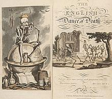 (Combe, William) The English Dance of Death, from the Designs of Thomas Rowlandson with Metrical Illustrations. 2 Bde. Mit 1 gestoch. kol. Frontispiz, 1 gestoch. Titel mit kol. Vignette u. 72 kol. Aquatintatafeln. London, Ackermann, 1815-1816. vii,