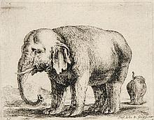 Della Bella, Stefano Elefant. Orig. Radierung. In der Platte signiert. 1641. Plattenmaße ca. 8,5 x 10,5 cm. Am oberen Rand punktuell auf dicken Karton montiert.