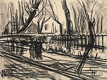 Tollmann, Günther (Pappelallee, Wattenscheid). 1951. Kohlezeichnung auf chamoisfarbenen Papier. 29,5 x 39,5 cm. Datiert und monogrammiert GT. Dabei, ehemals auf Rückwand klebender Aufkleber mit Bezeichnung und Provenienzhinweis. Papier auf