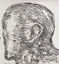 Hommage à Gustav Stein. 14 Arbeiten (von 34). Volker Neuhaus, Köln, 1983. Blattmaße je ca. 52,5 x 42,8 cm. Je signiert, teils datiert u. betitelt. Lose in original Flügel-Mappe (diese etw. berieben u. angeschmutzt).