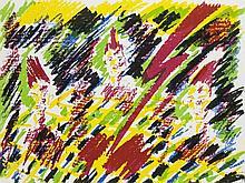 Salomé (Wolfgang Ludwig Chilarz) Götterdämmerung. 1984. Mit 20 (farbigen) Alugraphien u. 5 Beiblättern beinhaltend einen Titel, ein Impressum, ein Inhaltsverzeichnis und jeweils ein Gedicht von Charles Baudelaire und Stéphane Mallarmé.