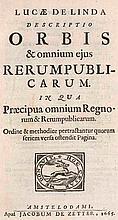 Linda, Lucas de Descriptio Orbis & omnium ejus Rerumpublicarum ... Mit Holzshn.-Druckermarke. Amsterdam, De Zetter, 1665. 7 Bll., 1156 S., 6 Bll. Pgt. d. Zt. mit Bindebändern.
