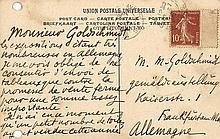 Denis, Maurice (Maler) Eigenhändige und inhaltsreiche Postkarte des Louvre mit einem Bild von Frans Hals mit Unterschrift an den Kunsthändler Goldschmidt (Kunstsalon M. Goldschmidt & Co.) in Frankfurt. Postempel von 1908.