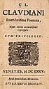 Claudianus, Claudius Emendatissima Poemata Mit