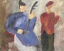 Bùi, Xuân Phái (d.i. Bùi Xuân Phái) Cheo-Figuren. Öl auf Papier. 15,5 x 19 cm. Signiert. - Unter Passepartout punktuell befestigt. Verso mit leichten Lagerspuren versehen.