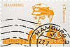Brehmer, Klaus-Peter Hamburg - E. Thälmann - Deutsche Bundespost. Linolschnitt in Orange u. Schwarz auf Papier in Briefmarkenform. 37,5 x 54,5 cm (37,5 x 54,5 cm). Verso signiert. - Linke Blatthälfte vereinzelt mit schwachen Knickspuren.