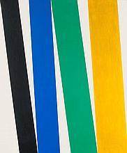 Brandt, Andreas o.T. (vertikale Komposition). 1971. Öl auf Leinwand. 60 x 50 cm. Verso auf der umgeschlagenen Leinwand signiert u. datiert. - In Metalleiste gerahmt.