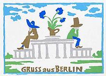 Brus, Günter Gruss aus Berlin. 1978. Farbserigraphie auf Hoesch-Düren 1830 (Wasserzeichen mit Wappen). 16,5 x 23 cm (21 x 29,8 cm). Signiert u. datiert sowie verso mit dem Stempel der