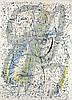 Biedermann, Wolfgang E Virtuelle Zeichenüberschau IV. 1988. Kombinationsdruck und Mischtechnik (farb. übermalt) auf Hahnemühle-Büttenpapier. Blattgröße ca. 78 x 56 cm. Signiert und betitelt.