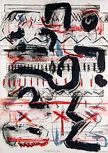 Biedermann, Wolfgang E Gedanken-Zeichen I. 1987. Mischtechnik auf Büttenpapier. Blattgröße ca. 78,5 x 56 cm. Signiert und betitelt.