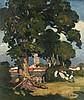 Balande, Gaston Wäscherin vor einem Dorf in der Landschaft. Um 1920. Öl auf Leinwand. 54 x 46,5 cm. Signiert sowie verso auf der Leinwand mit dem Stempel