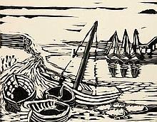 Bargheer, Eduard Sechs Holzschnitte. Mappe mit sechs Holzschnitten von Eduard Bargheer. Hamburg, Verlag der Blätter für die Dichtung, 1935. Je 25,5 x 33 cm (28,5 x 38 cm). Je bis auf 1 Blatt im Stock signiert u. datiert. - Lose in OKart.-Umschlag mit