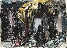 Chevalier, Peter o.T. (Stadtszenerie). Um 1980. Mischtechnik auf Papier. 43 x 61 cm. Signiert. - Verso mit Atelierspuren versehen.