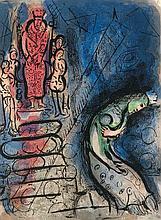 Chagall, Marc König Ahasverus. Farblithographie auf Velin. 35,3 x 26 cm. - Verso mit Befestigungsspuren alter Montierung.