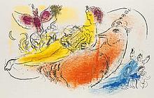 Chagall, Marc L'accordéoniste (Der Akkordeonspieler). Farblithographie auf Velin. 26 x 40 cm (37,5 x 55,5 cm). - Mit geglätteter Mittelfalz. Verso mit Textdruck.