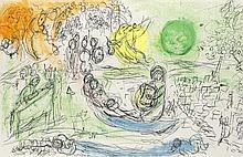 Chagall, Marc Le Concert. Farblithographie auf Velin. 36 x 55,7 cm. - Mit gelätteter Mittelfalz und rückseitigem Textdruck.